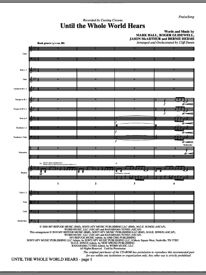 Until The Whole World Hears (complete set of parts) sheet music for orchestra/band (Orchestra) by Casting Crowns, Bernie Herms, Cliff Duren, Jason McArthur, Mark Hall and Roger Glidewell, intermediate skill level