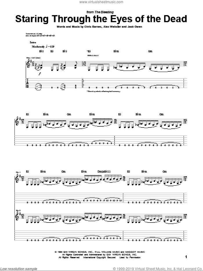 Staring Through The Eyes Of The Dead sheet music for guitar (tablature) by Jack Owen, Cannibal Corpse and Alex Webster. Score Image Preview.