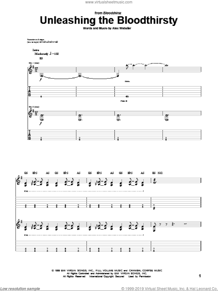 Unleashing The Bloodthirsty sheet music for guitar (tablature) by Cannibal Corpse, intermediate. Score Image Preview.