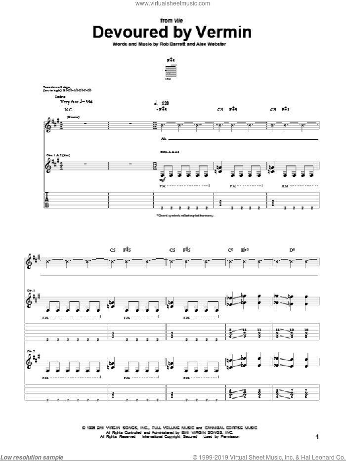 Devoured By Vermin sheet music for guitar (tablature) by Cannibal Corpse, intermediate. Score Image Preview.