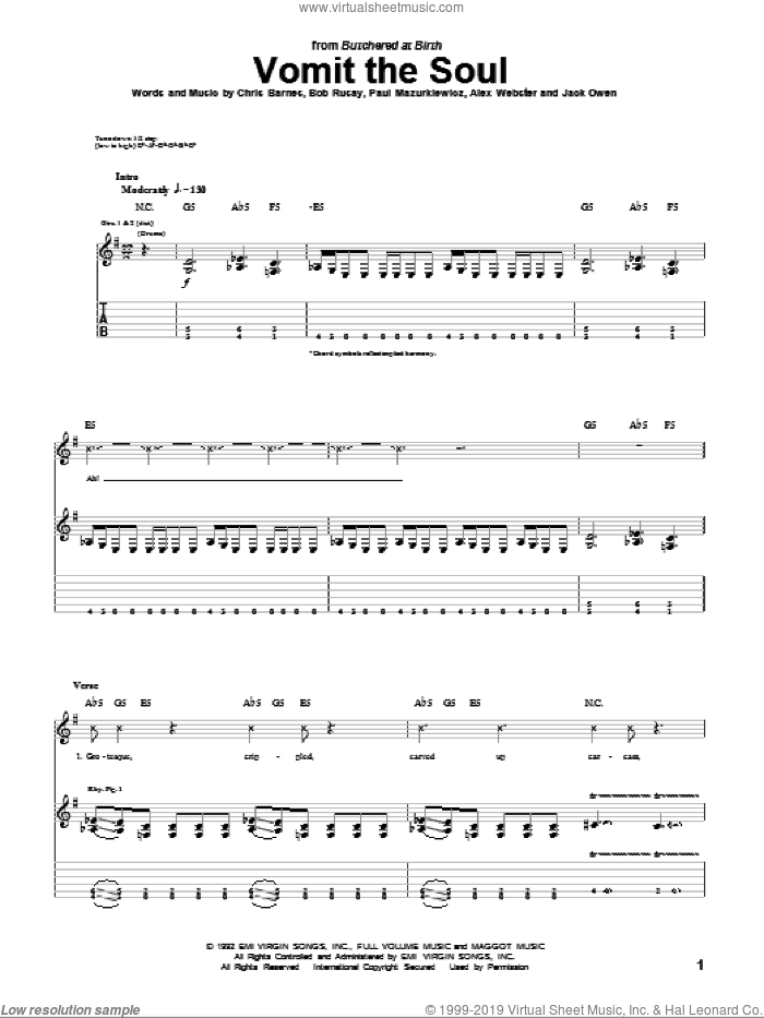 Vomit The Soul sheet music for guitar (tablature) by Cannibal Corpse, Alex Webster, Bob Rusay, Chris Barnes, Jack Owen and Paul Mazurkiewicz, intermediate skill level