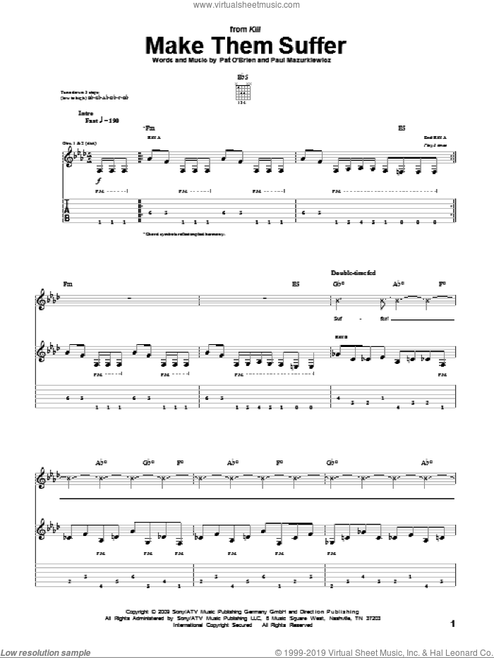 Make Them Suffer sheet music for guitar (tablature) by Cannibal Corpse, intermediate. Score Image Preview.