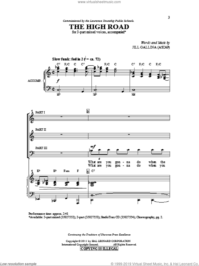 The High Road sheet music for choir (3-Part Mixed) by Jill Gallina, intermediate skill level