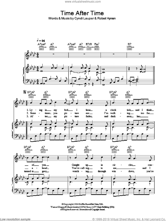 Time After Time sheet music for voice, piano or guitar by Rob Hyman, Cyndi Lauper and Journey South