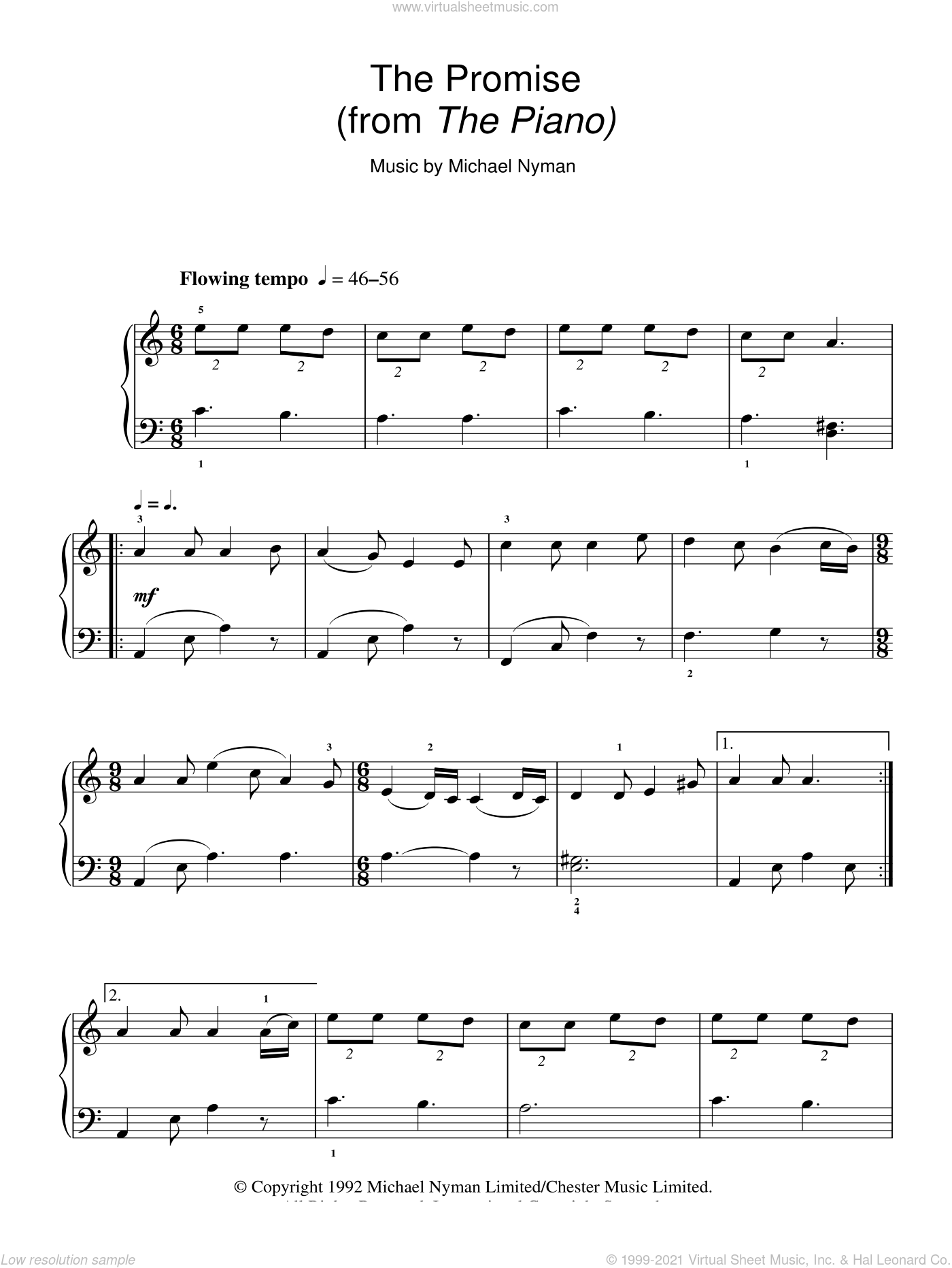 The Promise sheet music for piano solo by Michael Nyman and The Piano (Movie), intermediate skill level