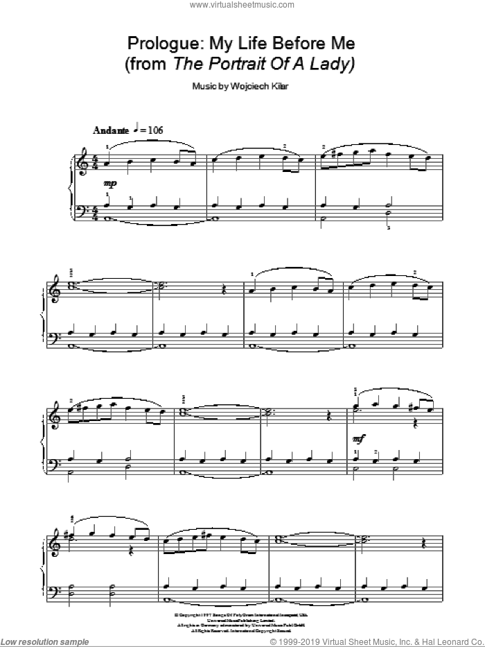 Prologue: My Life Before Me sheet music for piano solo by Wojciech Kilar