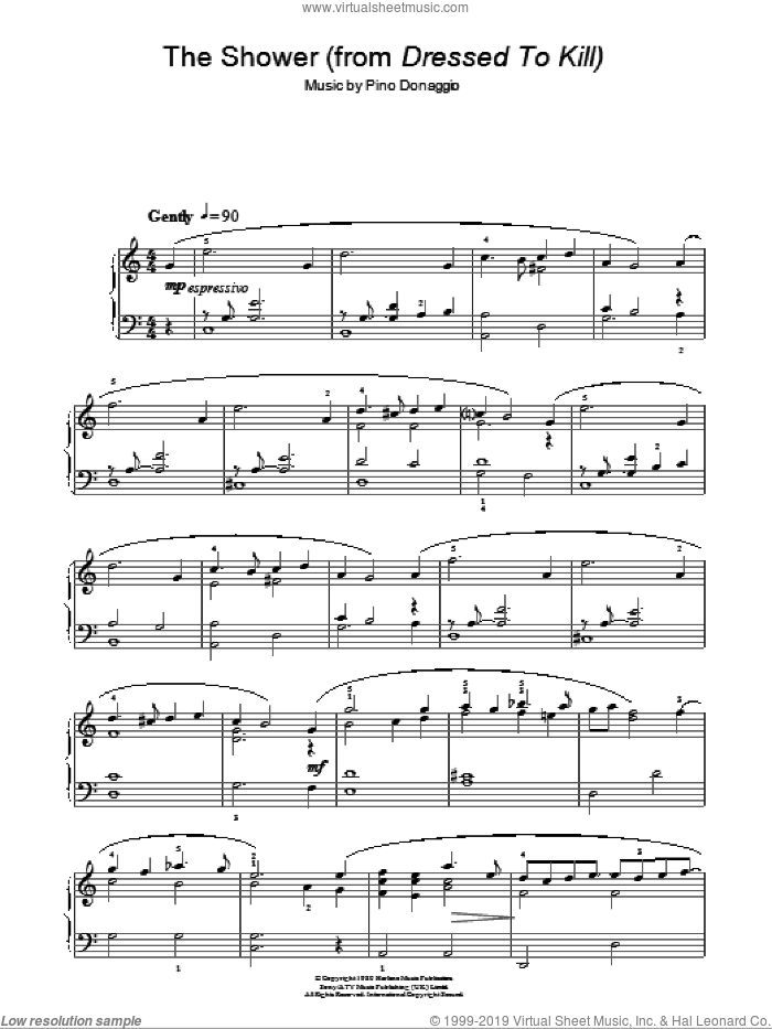 The Shower sheet music for piano solo by Pino Donaggio. Score Image Preview.