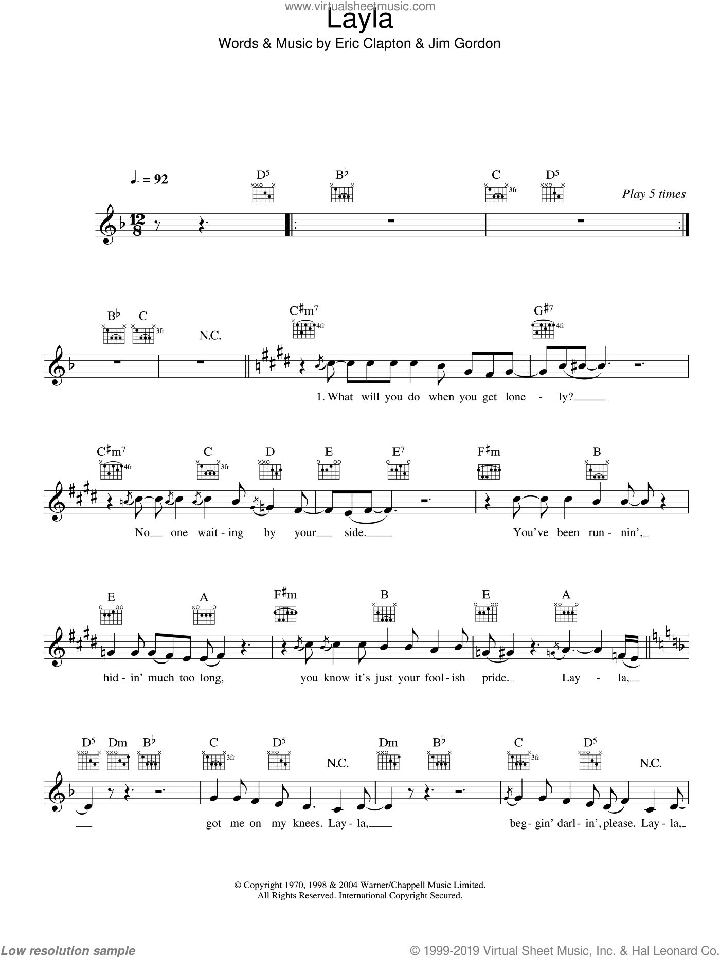 Layla sheet music for voice and other instruments (fake book) by Eric Clapton and Jim Gordon, intermediate skill level