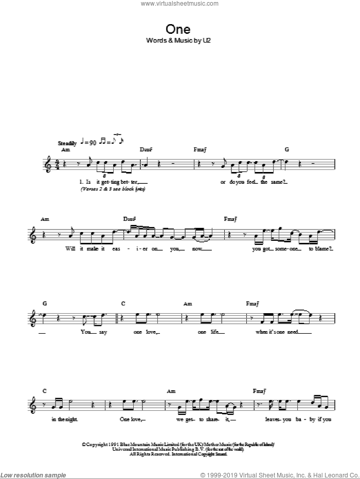 One sheet music for voice and other instruments (fake book) by U2, intermediate skill level