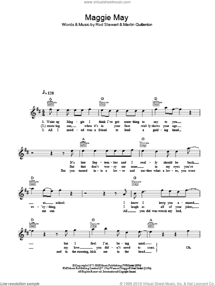 Maggie May sheet music for voice and other instruments (fake book) by Rod Stewart and Martin Quittenton, intermediate voice. Score Image Preview.