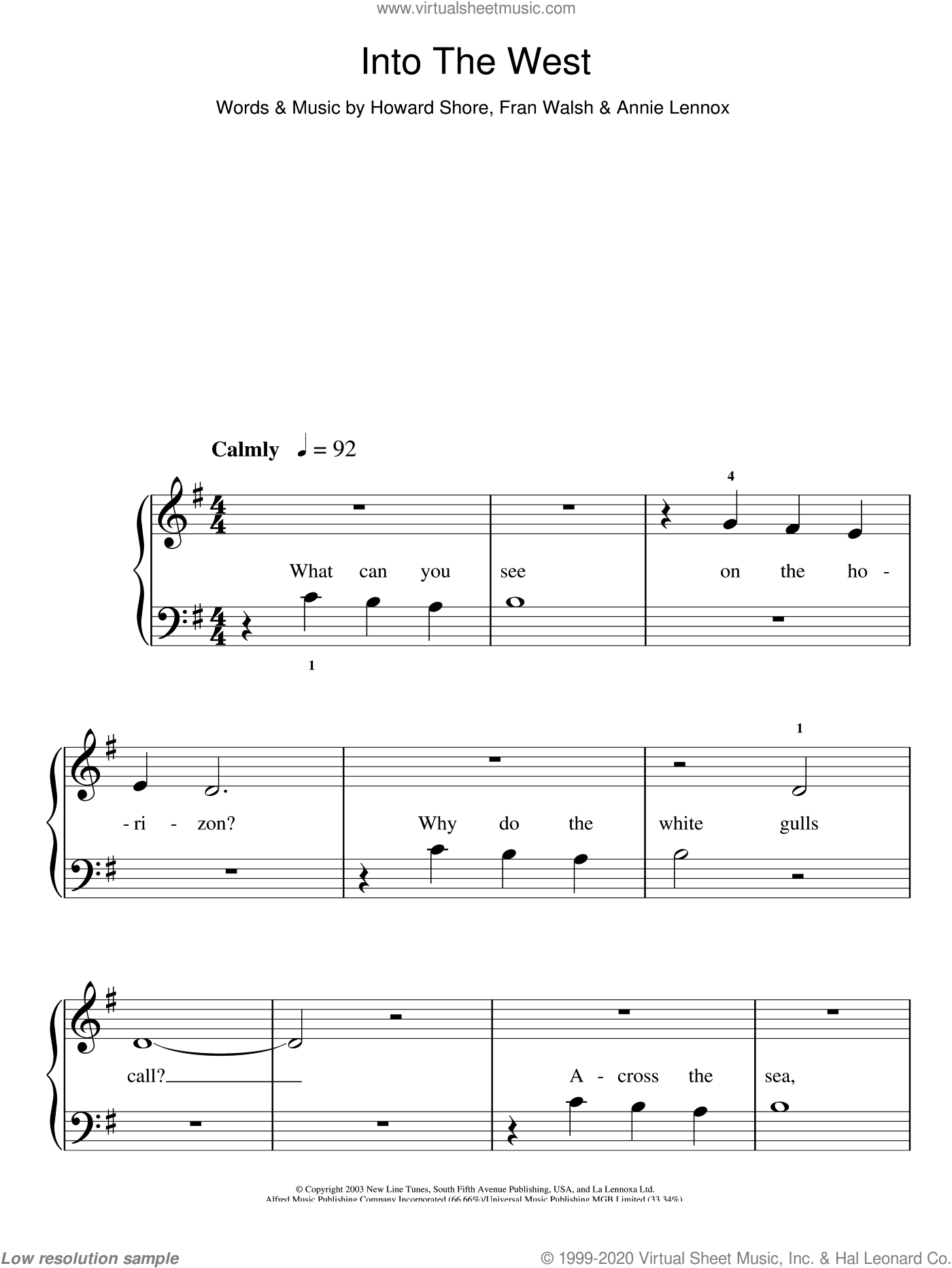 Into The West sheet music for piano solo (chords) by Howard Shore