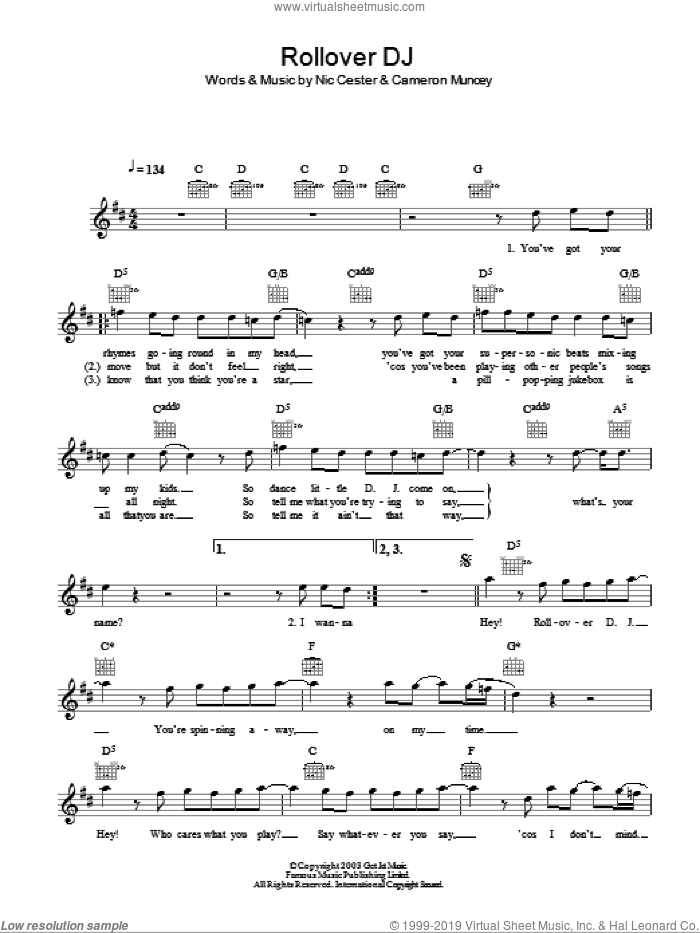 Rollover D. J. sheet music for voice and other instruments (fake book) by Cameron Muncey and Nic Cester. Score Image Preview.