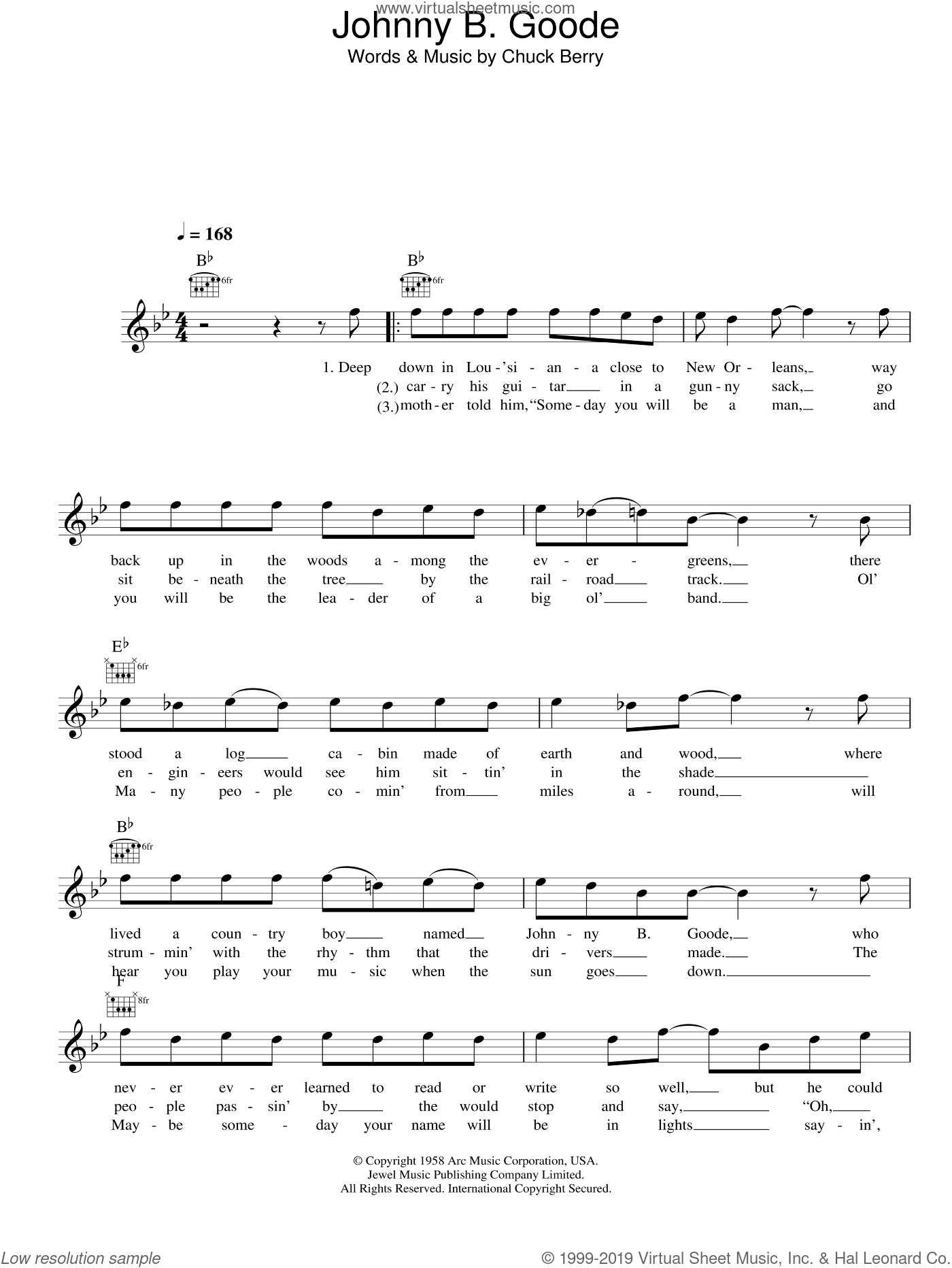 Johnny B. Goode sheet music for voice and other instruments (fake book) by Chuck Berry. Score Image Preview.