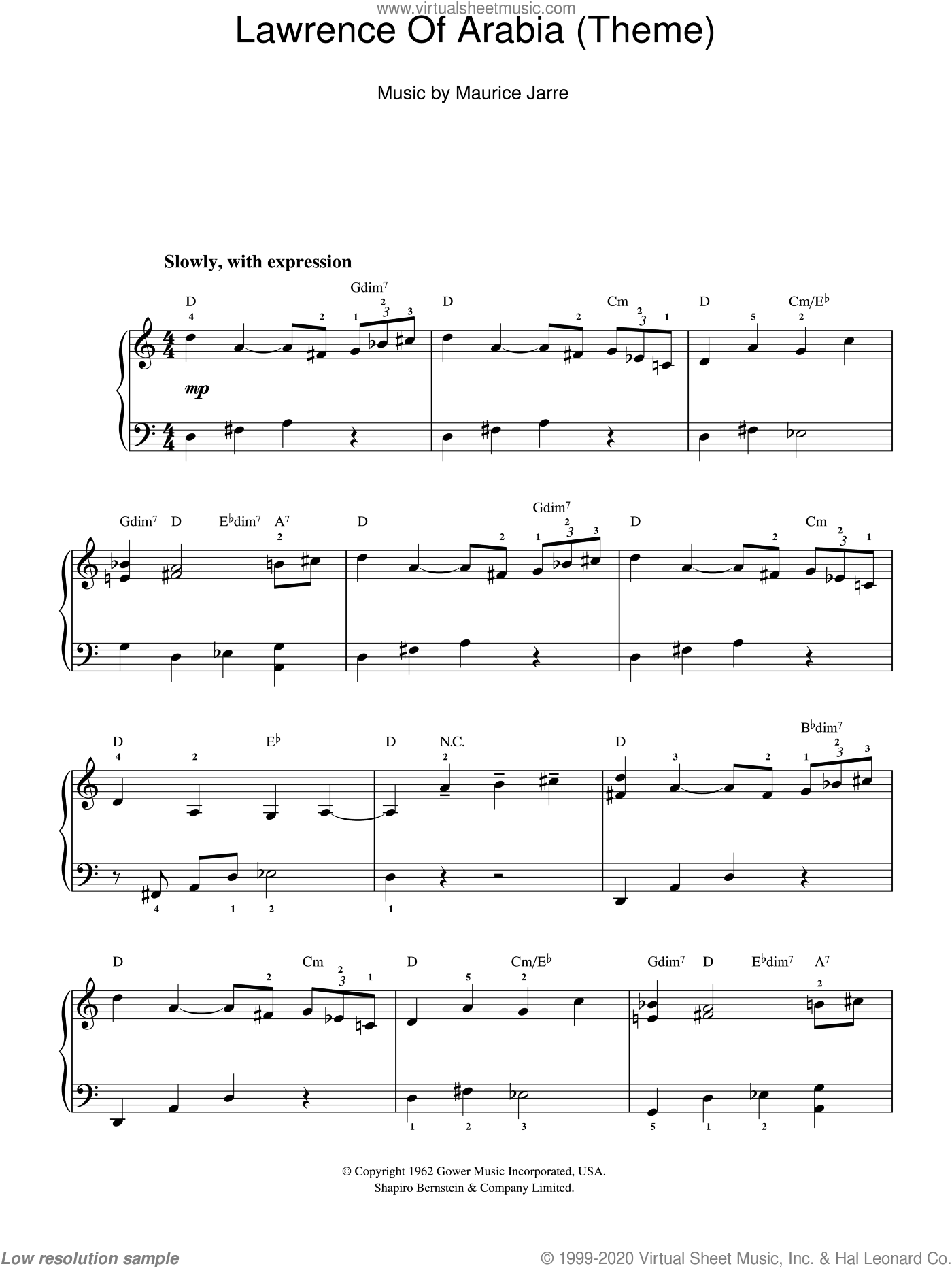 Lawrence Of Arabia (Main Titles), (easy) sheet music for piano solo by Maurice Jarre, easy skill level