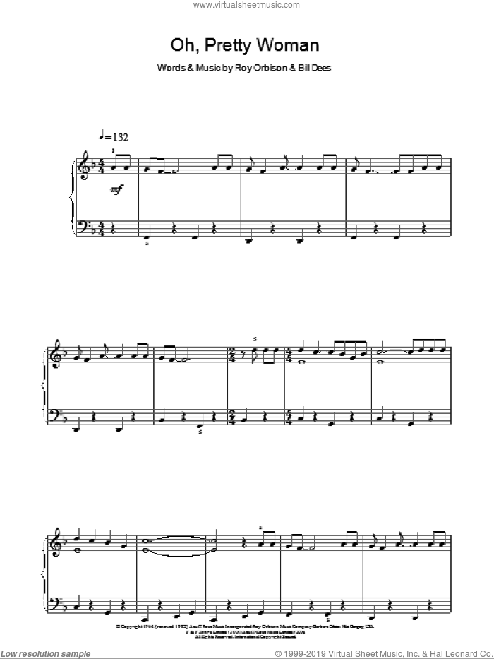 Oh, Pretty Woman sheet music for piano solo by Roy Orbison and Bill Dees, easy skill level