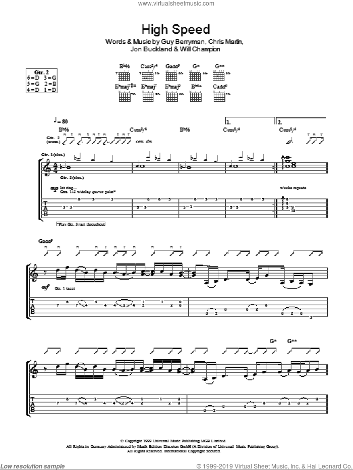 High Speed sheet music for guitar (tablature) by Coldplay, Chris Martin, Guy Berryman, Jon Buckland and Will Champion, intermediate skill level