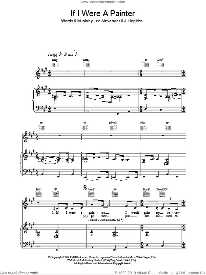 Painter Song sheet music for voice, piano or guitar by Norah Jones, J. Hopkins and Lee Alexander, intermediate skill level