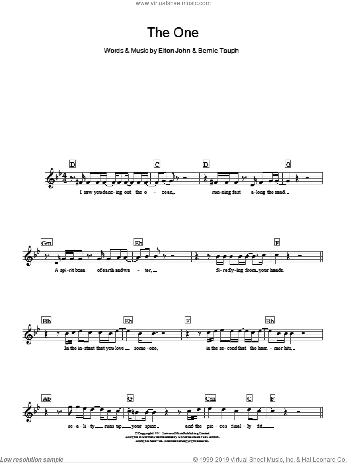 The One sheet music for voice and other instruments (fake book) by Elton John and Bernie Taupin, intermediate skill level