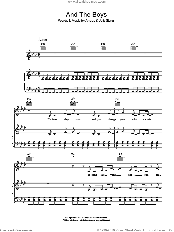 And The Boys sheet music for voice, piano or guitar by Julia Stone and Angus Stone, intermediate skill level