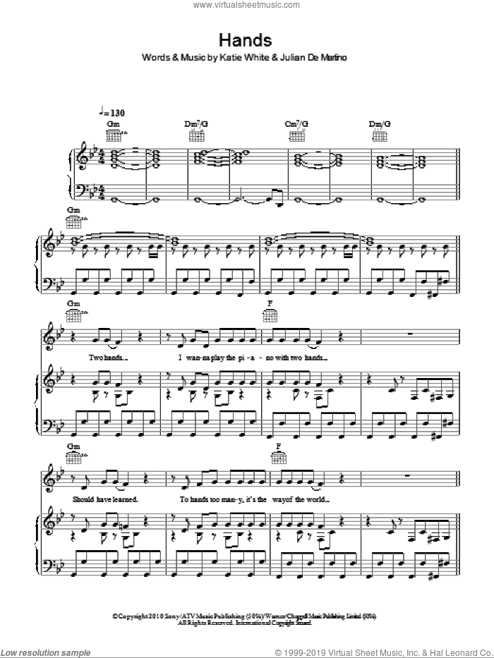 Hands sheet music for voice, piano or guitar by The Ting Tings, Julian De Martino and Katie White, intermediate. Score Image Preview.