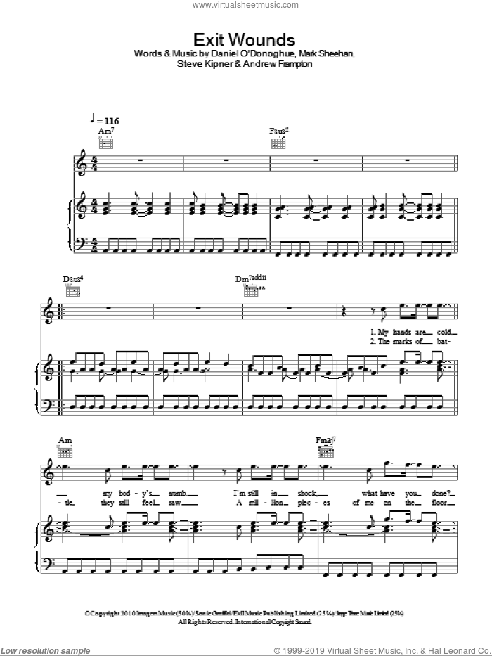 Exit Wounds sheet music for voice, piano or guitar by The Script and Andrew Frampton. Score Image Preview.