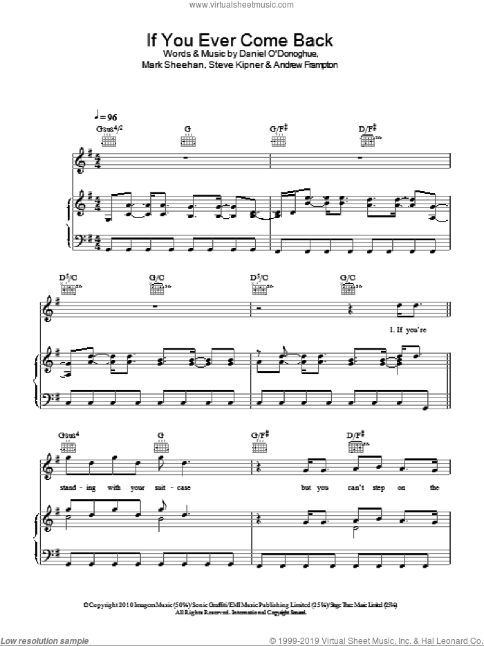 If You Ever Come Back sheet music for voice, piano or guitar by Steve Kipner, The Script, Andrew Frampton and Mark Sheehan. Score Image Preview.