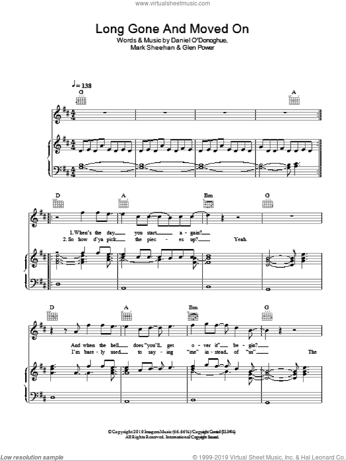 Long Gone And Moved On sheet music for voice, piano or guitar by Mark Sheehan and The Script. Score Image Preview.