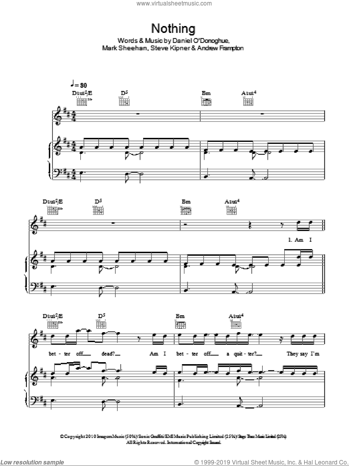 Nothing sheet music for voice, piano or guitar by Steve Kipner, The Script, Andrew Frampton and Mark Sheehan. Score Image Preview.