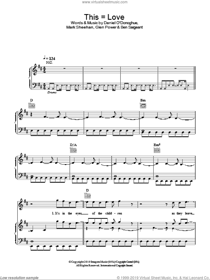 This = Love sheet music for voice, piano or guitar by Mark Sheehan and The Script. Score Image Preview.