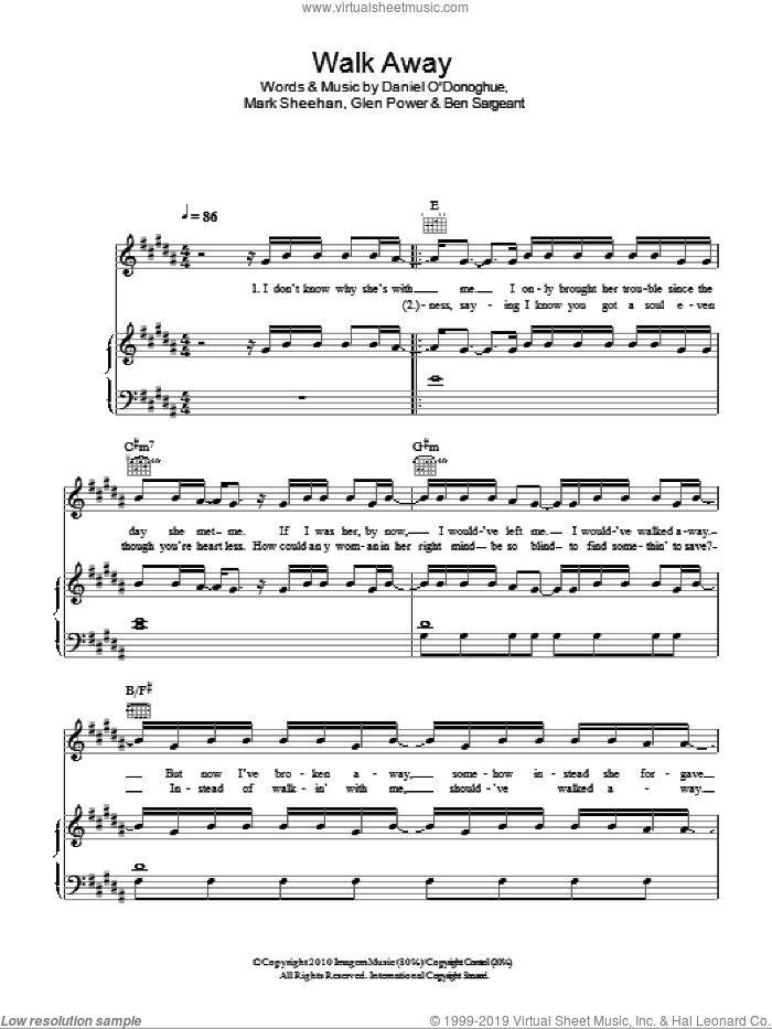 Walk Away sheet music for voice, piano or guitar by The Script, intermediate voice, piano or guitar. Score Image Preview.