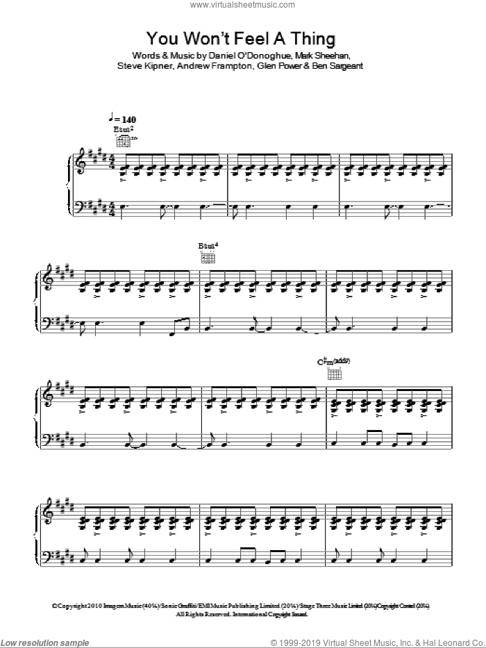 You Won't Feel A Thing sheet music for voice, piano or guitar by The Script, intermediate