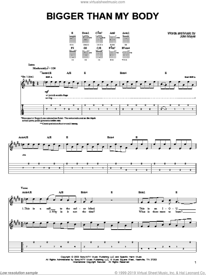 Bigger Than My Body sheet music for guitar solo (chords) by John Mayer. Score Image Preview.