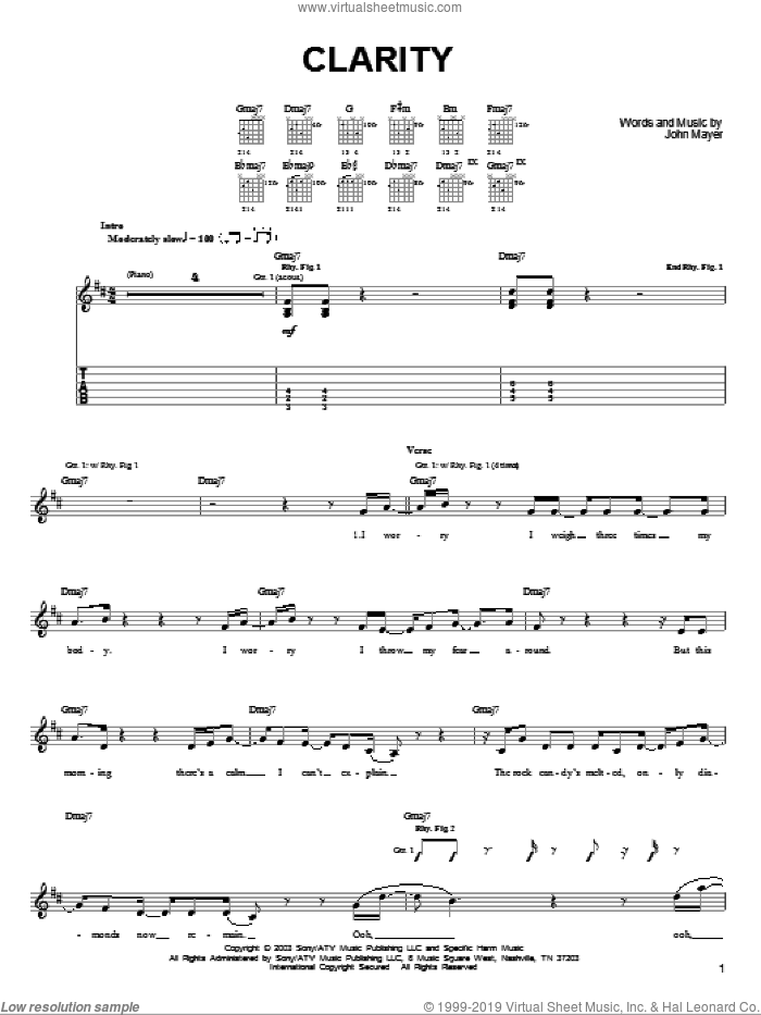 Clarity sheet music for guitar solo (chords) by John Mayer, easy guitar (chords)