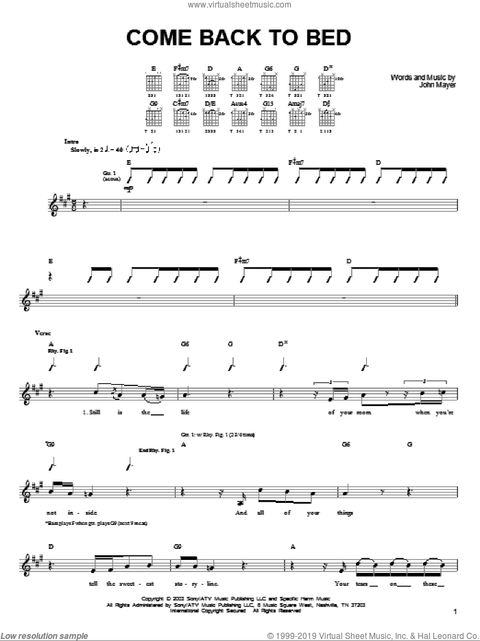 Come Back To Bed sheet music for guitar solo (chords) by John Mayer. Score Image Preview.