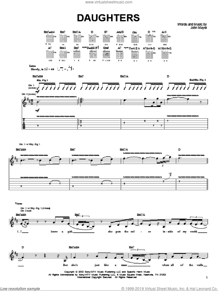 Daughters sheet music for guitar solo (chords) by John Mayer. Score Image Preview.