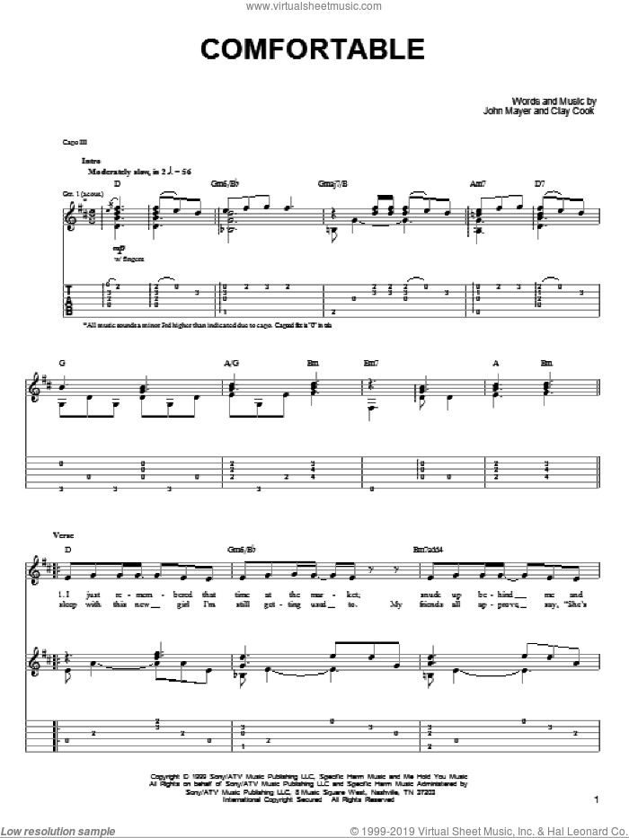 Comfortable sheet music for guitar solo (chords) by Clay Cook and John Mayer. Score Image Preview.