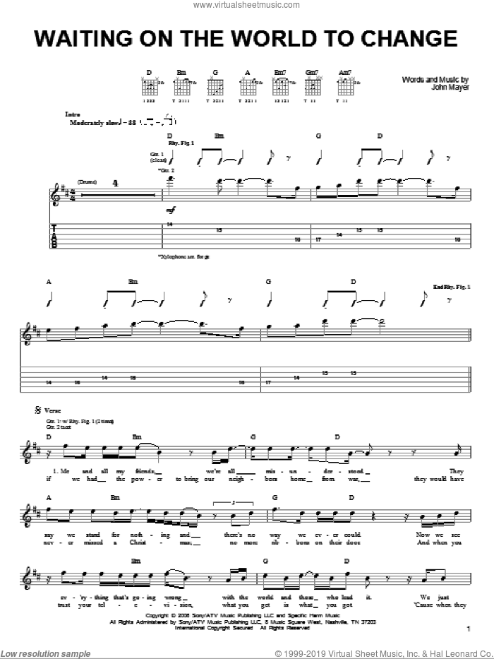 Waiting On The World To Change sheet music for guitar solo (chords) by John Mayer, easy guitar (chords)