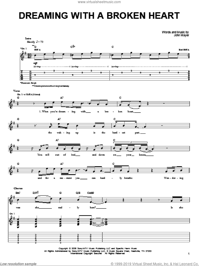Dreaming With A Broken Heart sheet music for guitar solo (chords) by John Mayer. Score Image Preview.