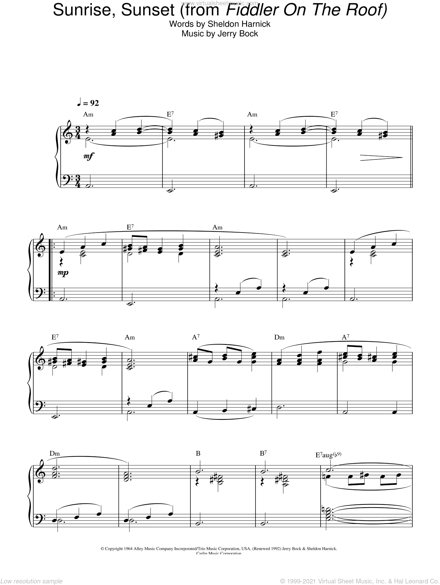 Sunrise, Sunset sheet music for piano solo by Bock & Harnick, Fiddler On The Roof (Musical), Jerry Bock and Sheldon Harnick, wedding score, intermediate skill level