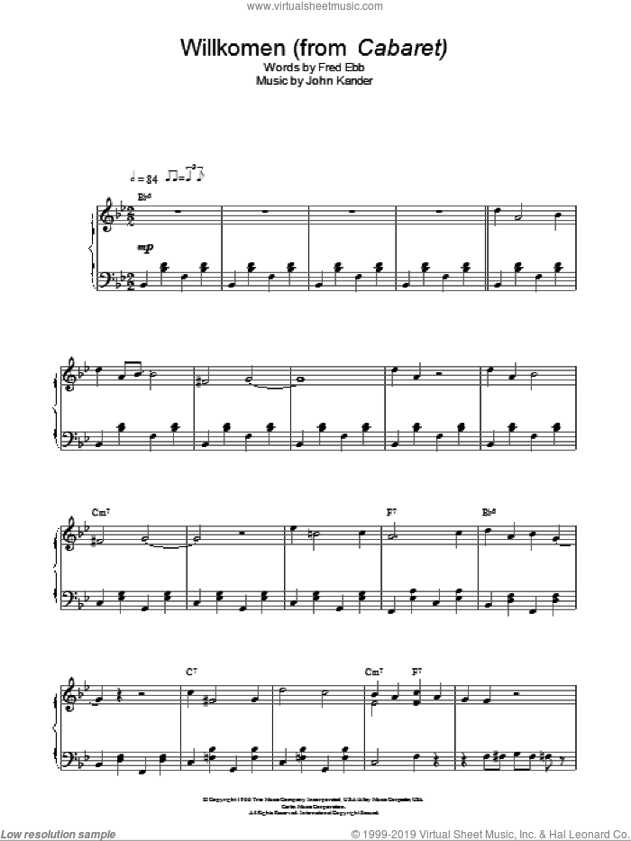 Willkommen sheet music for piano solo by John Kander, Kander & Ebb and Fred Ebb. Score Image Preview.