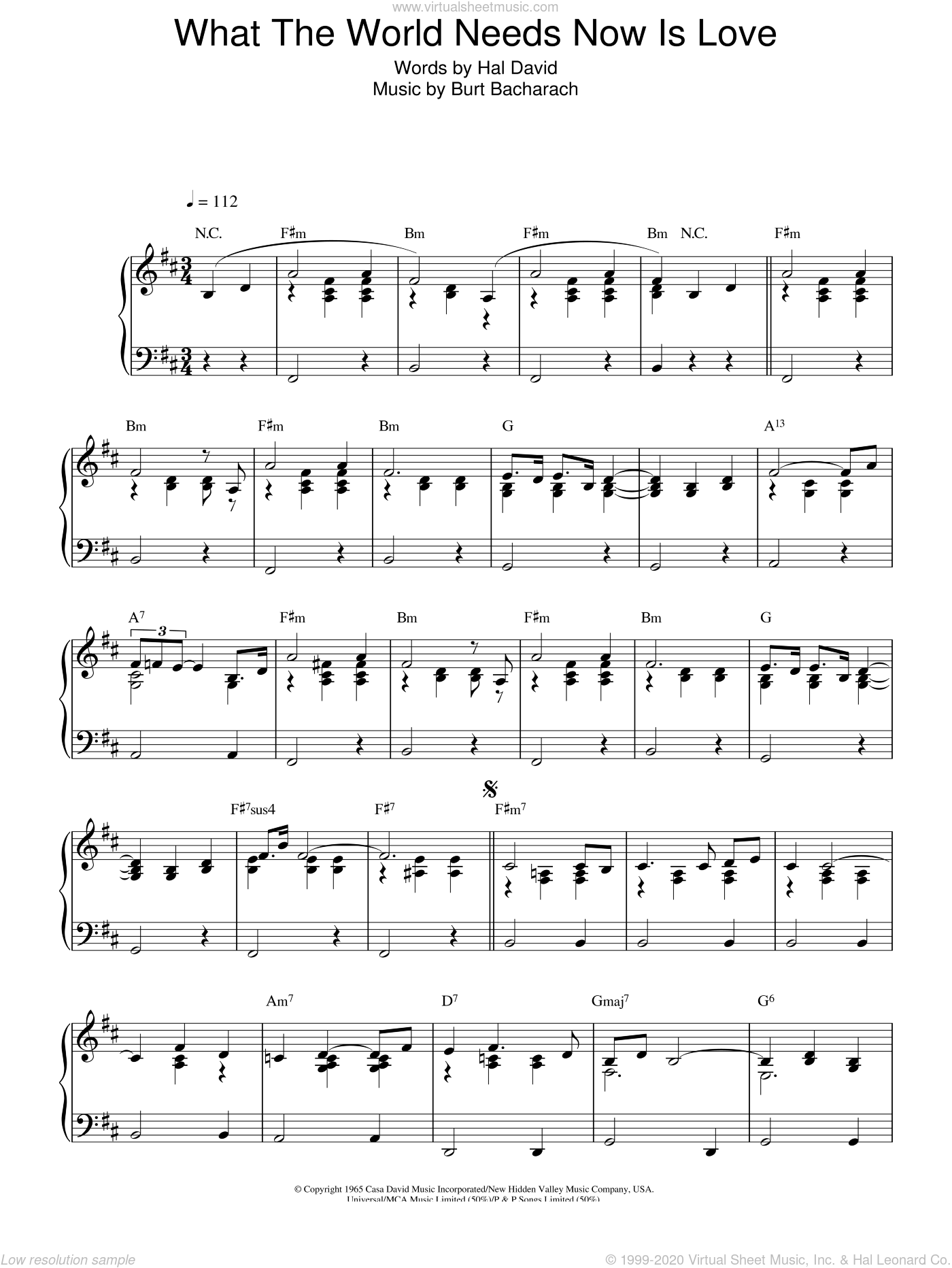 What The World Needs Now Is Love sheet music for piano solo by Bacharach & David, Stacey Kent, Burt Bacharach and Hal David, intermediate skill level
