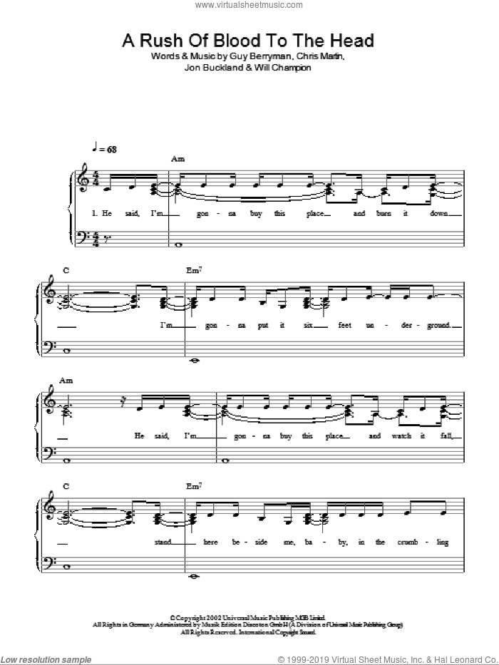 A Rush Of Blood To The Head sheet music for piano solo by Will Champion, Coldplay, Chris Martin, Guy Berryman and Jon Buckland. Score Image Preview.