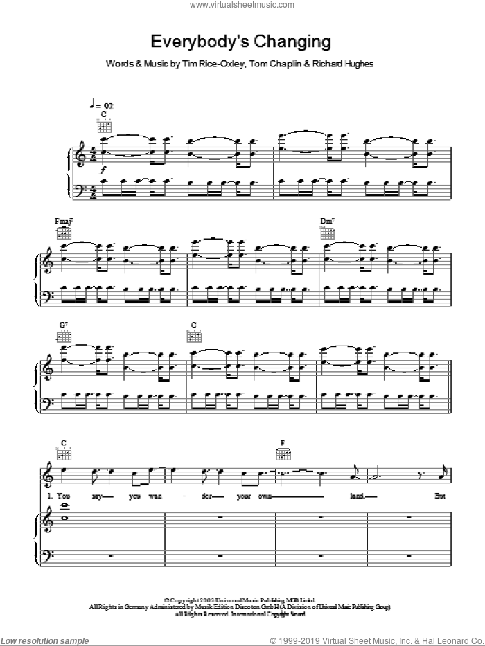 Everybody's Changing sheet music for voice, piano or guitar by Tim Rice-Oxley, Richard Hughes and Tom Chaplin, intermediate skill level