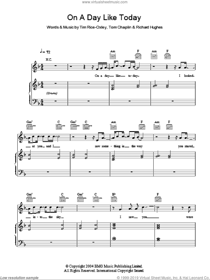 On A Day Like Today sheet music for voice, piano or guitar by Tim Rice-Oxley. Score Image Preview.