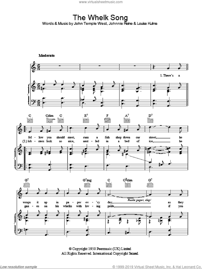 The Whelk Song sheet music for voice, piano or guitar by Billy Cotton, John Temple West, Johnnie Reine and Louise Kulma, intermediate. Score Image Preview.