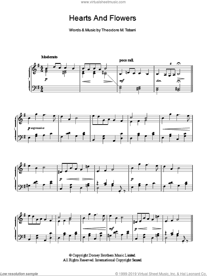 Hearts And Flowers sheet music for voice, piano or guitar by Paul Whiteman. Score Image Preview.