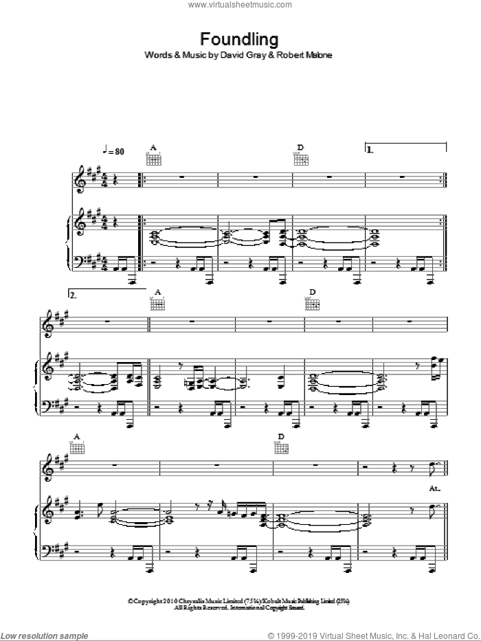 Foundling sheet music for voice, piano or guitar by David Gray. Score Image Preview.