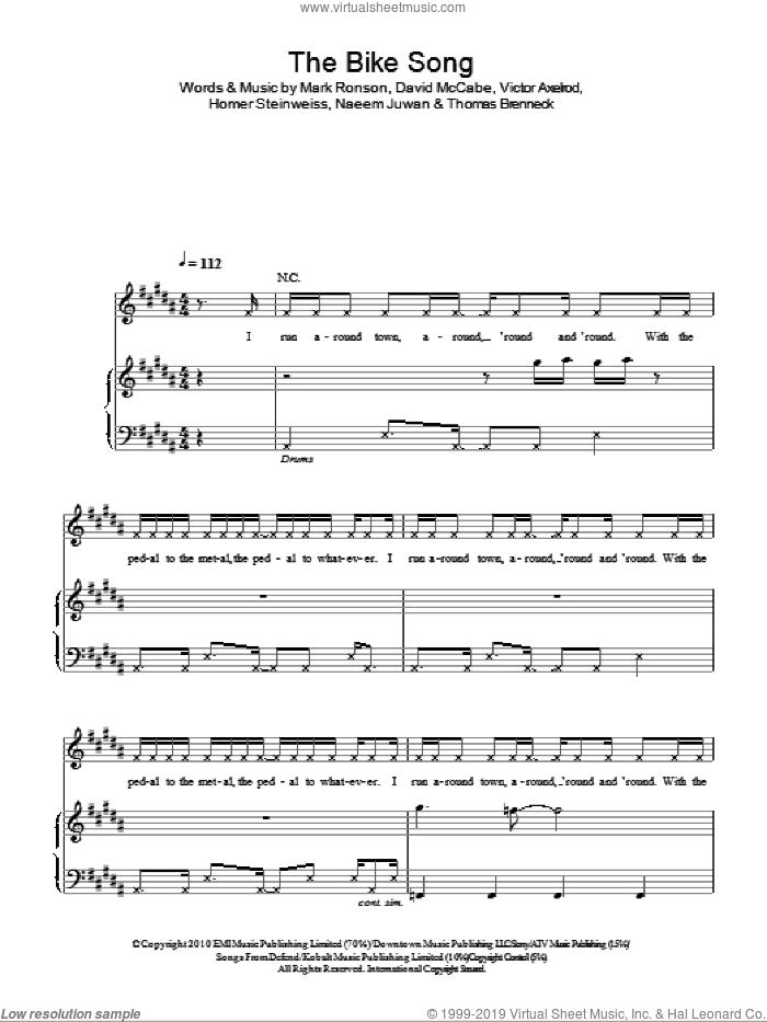 The Bike Song sheet music for voice, piano or guitar by Mark Ronson & The Business Intl. and Mark Ronson. Score Image Preview.