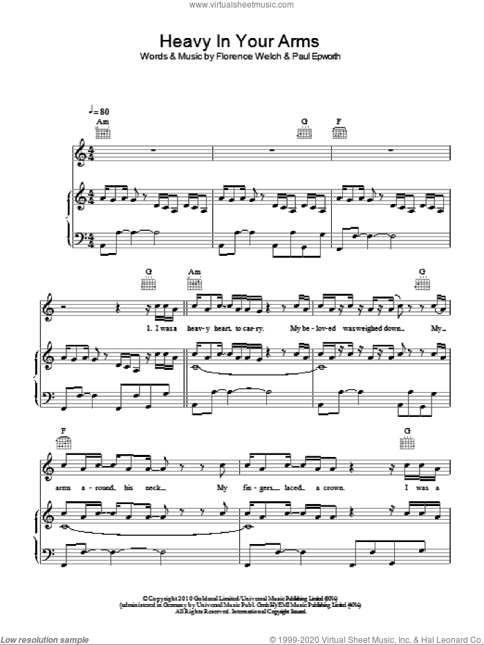 Heavy In Your Arms sheet music for voice, piano or guitar by Florence And The Machine and Paul Epworth, intermediate voice, piano or guitar. Score Image Preview.