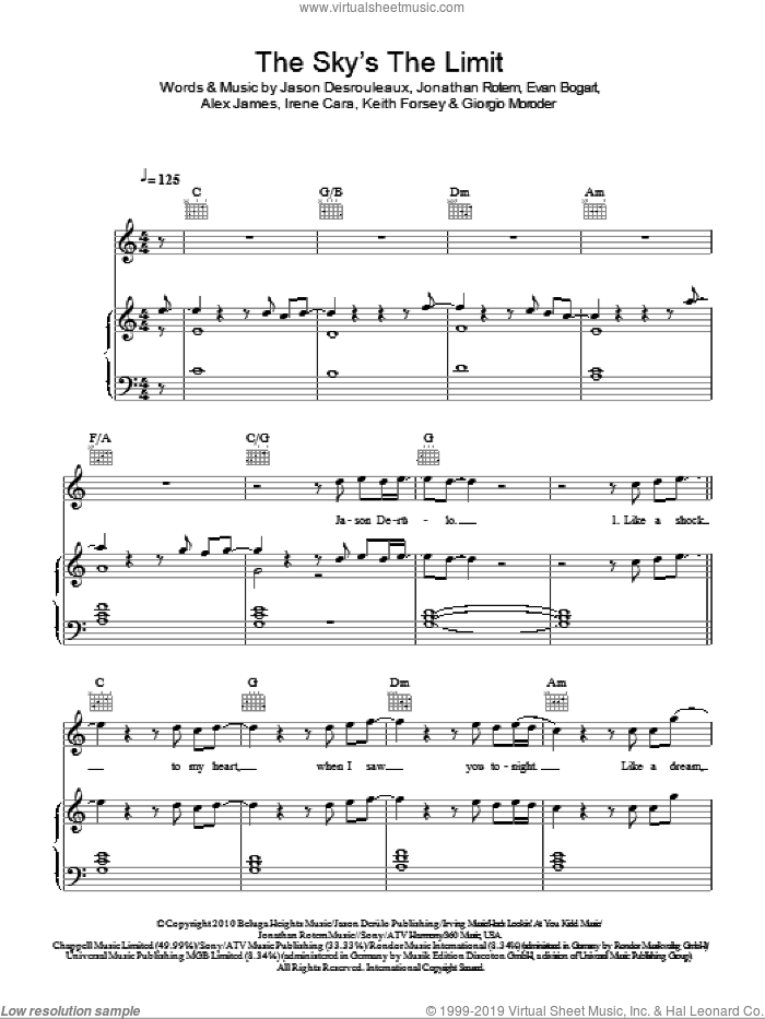The Sky's The Limit sheet music for voice, piano or guitar by Keith Forsey, Jason Derulo, Alex James, Giorgio Moroder, Irene Cara, Jason Desrouleaux and Jonathan Rotem. Score Image Preview.